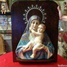 Arte: RETABLO ANTIGUO DE LA VIRGEN MARIA Y EL NIÑO JESUS AMBOS CON OJOS DE CRISTAL. Lote 97238490