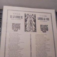 Arte: LURDES LA NOU - GOIGS A LLAOR DE LA VERGE DE LURDES BISBAT DE SOLSONA - ALT LLOBREGAT I.G.IVERN IMP.. Lote 97304615