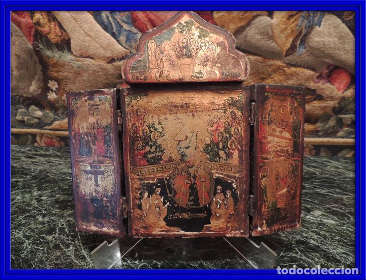 TRIPTICO ANTIGUO CON ESCENAS DE LA VIDA DE JESUS PINTADO SOBRE MADERA (Arte - Arte Religioso - Trípticos)