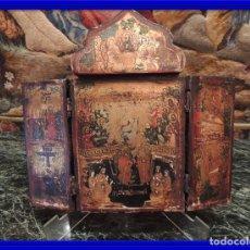 Arte: TRIPTICO ANTIGUO CON ESCENAS DE LA VIDA DE JESUS PINTADO SOBRE MADERA. Lote 97311659