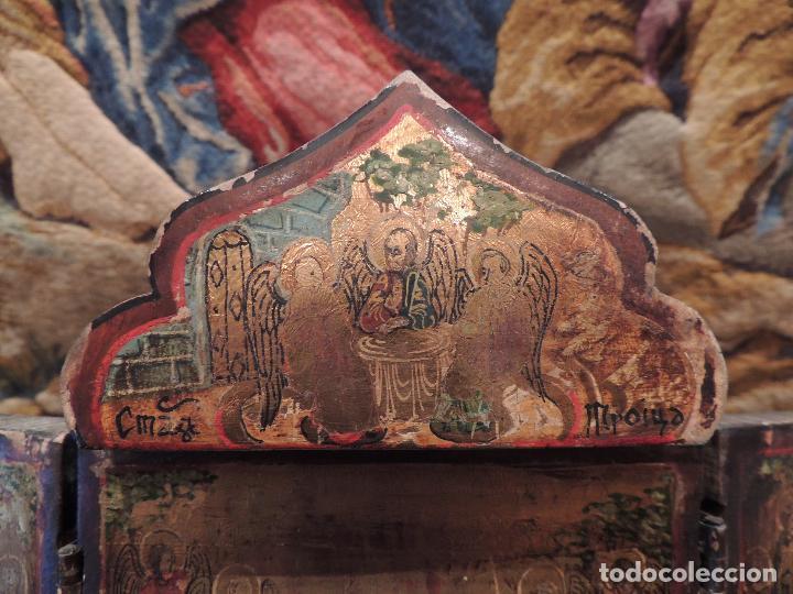 Arte: TRIPTICO ANTIGUO CON ESCENAS DE LA VIDA DE JESUS PINTADO SOBRE MADERA - Foto 3 - 97311659