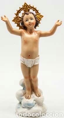 MARAVILLOSO NIÑO JESÚS DIVINO SOBRE NUBE EN RESINA POLICROMADA Y DORADA.SE PUEDE VESTIR. 20CM (Arte - Arte Religioso - Escultura)