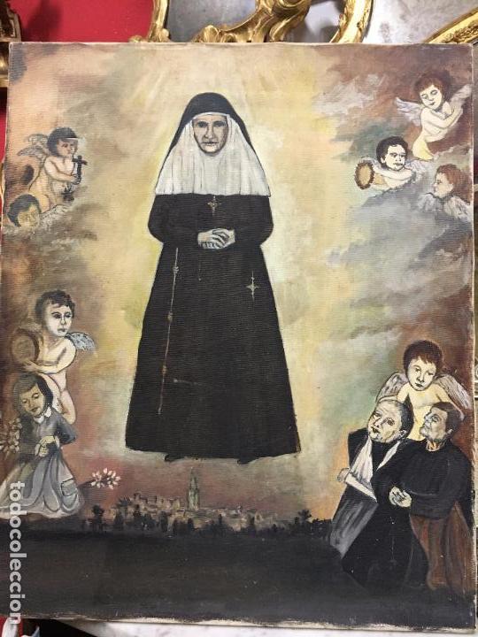 OLEO SOBRE LIENZO IMAGEN DE SANTA ANGELA DE LA CRUZ SOBRE SEVILLA - MEDIDA 61X50 CM - RELIGIOSO (Arte - Arte Religioso - Pintura Religiosa - Oleo)