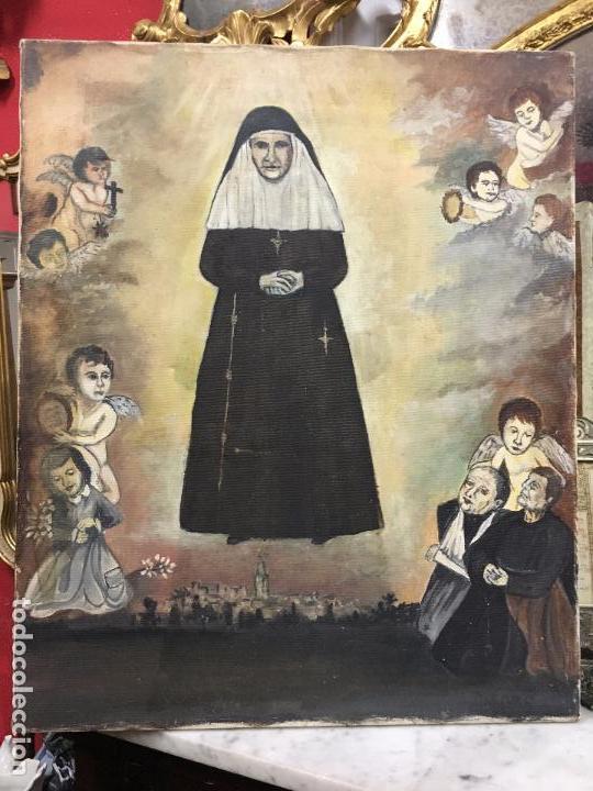 Arte: OLEO SOBRE LIENZO IMAGEN DE SANTA ANGELA DE LA CRUZ SOBRE SEVILLA - MEDIDA 61X50 CM - RELIGIOSO - Foto 11 - 97524355