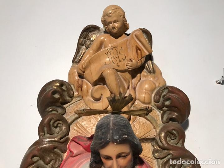 Arte: SAGRADO CORAZON DE JESUS ENTRONIZADO DE ESTUCO DE PARED, 45CM. - Foto 5 - 97658323
