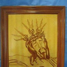 Arte: CUADRO DE CRISTO EN PIROGRABADO. FIRMADO ARAGONES CUESTA 1998. MARCO 56X66 CM. Lote 97740643