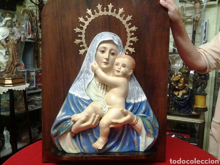 RETABLO ANTIGUO DE LA VIRGEN MARIA Y EL NIÑO JESUS CON OJOS DE CRISTAL (Arte - Arte Religioso - Retablos)