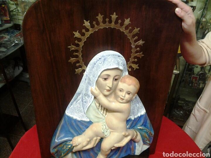 Arte: Retablo antiguo de la Virgen Maria y el Niño Jesus con ojos de cristal - Foto 4 - 97808447