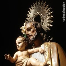 Arte: SXIX GLORIA DEL PATRIARCA SAN JOSE CON NIÑO TALLA DE MADERA GRANDES MEDIDAS. Lote 97841843