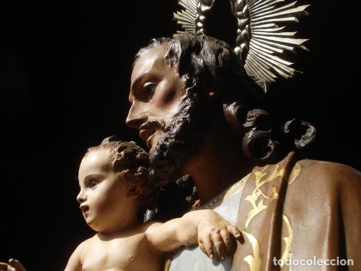 Arte: SXIX GLORIA DEL PATRIARCA SAN JOSE CON NIÑO TALLA DE MADERA GRANDES MEDIDAS - Foto 9 - 97841843