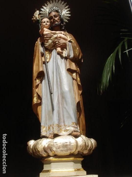 Arte: SXIX GLORIA DEL PATRIARCA SAN JOSE CON NIÑO TALLA DE MADERA GRANDES MEDIDAS - Foto 12 - 97841843