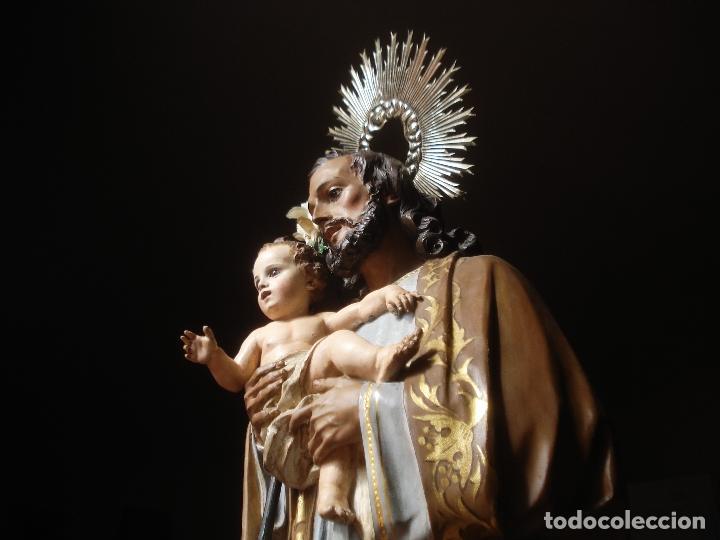 Arte: SXIX GLORIA DEL PATRIARCA SAN JOSE CON NIÑO TALLA DE MADERA GRANDES MEDIDAS - Foto 16 - 97841843