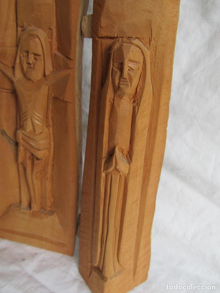 Arte: Tríptico fabricado en una sóla pieza de madera tallada - Foto 5 - 97866711