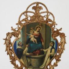 Arte: VIRGEN DEL ROSARIO EN MARCO DE BRONCE. CROMOLITOGRAFÍA DE 1891. Lote 97936355