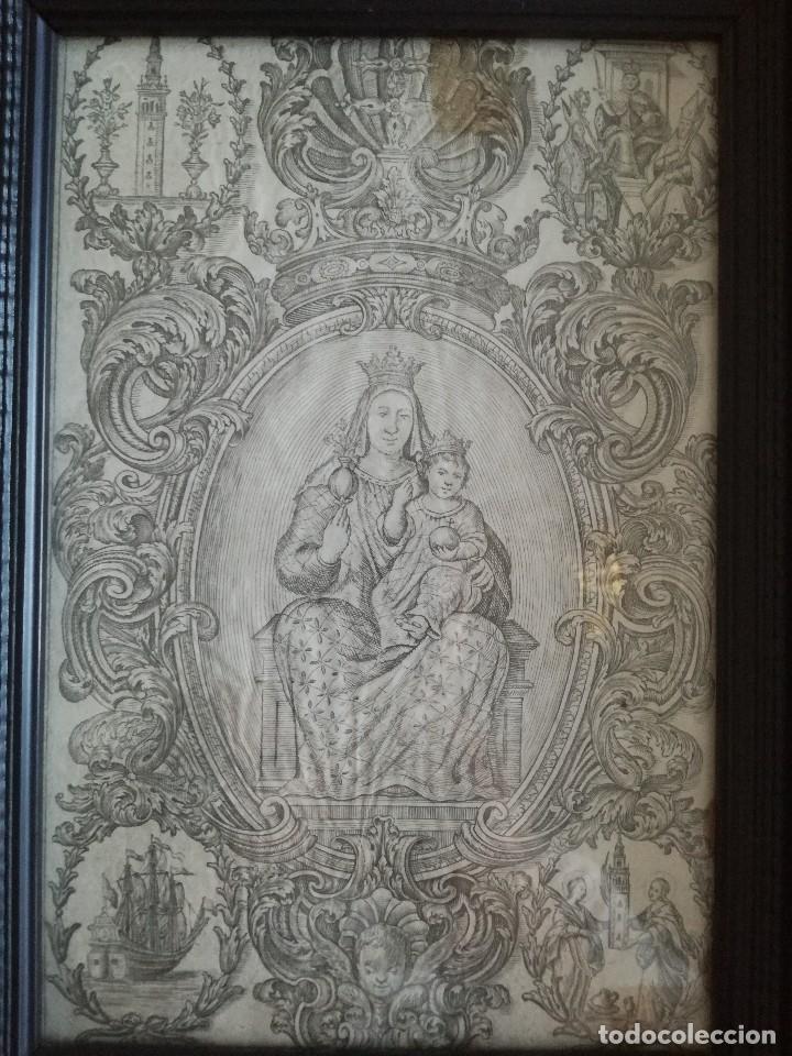 Arte: GRABADO RELIGIOSO SIGLO XVIII NSTRA SRA GRANADA SEVILLA - Foto 3 - 98046335