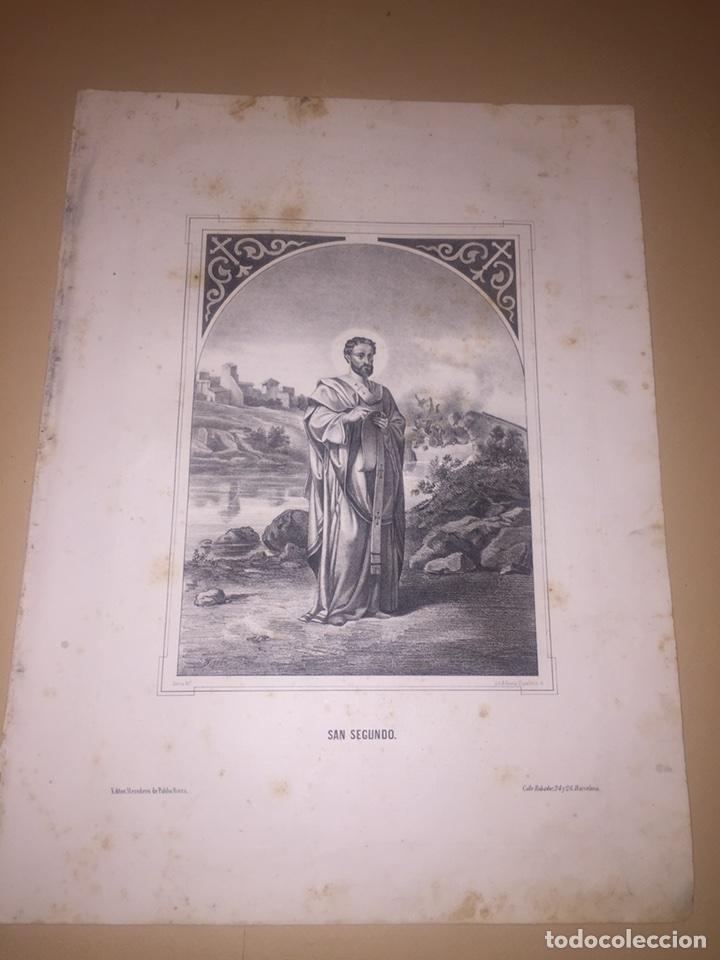 ESTAMPA LITOGRAFÍA SAN SEGUNDO SIGLO XIX (Arte - Arte Religioso - Litografías)