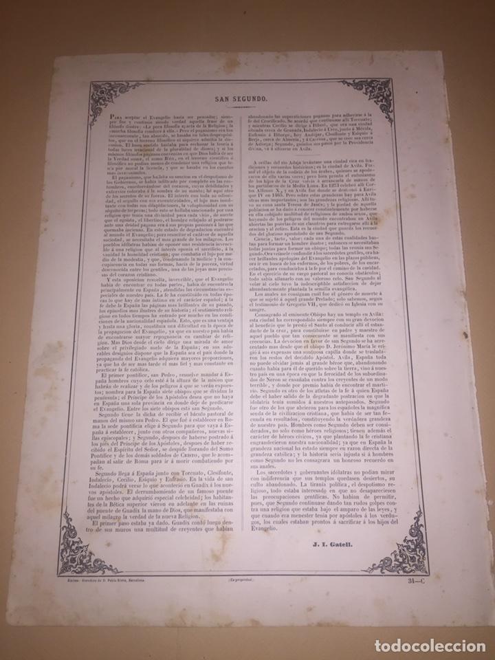 Arte: Estampa litografía San segundo siglo XIX - Foto 2 - 98080672