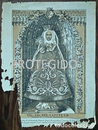 ANTIGUO GRABADO DE NUESTRA SEÑORA DEL CAPITULO VENERADA EN LA VILLA DE TRASOBARES ZARAGOZA (Arte - Arte Religioso - Grabados)