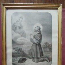 Arte: SAN ISIDRO LABRADOR,PATRÓN DE MADRID,ANTIGUA LITOGRAFÍA ENMARCADA.. Lote 98157311