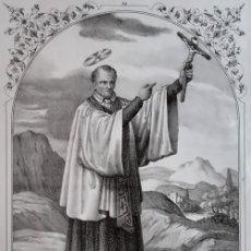 Arte: SAN VICENTE DE PAUL. LITOGRAFÍA ORIGINAL DE SANTIGOSA (COLECCIONES RELIGIOSAS DE 1853). Lote 98205243