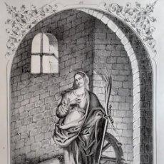 Arte: SANTA CATALINA. LITOGRAFÍA ORIGINAL DE SANTIGOSA (COLECCIONES RELIGIOSAS DE 1853). Lote 98205319