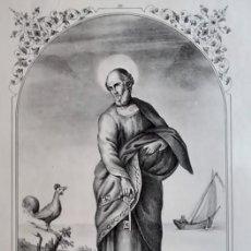 Arte: SAN PEDRO. LITOGRAFÍA ORIGINAL DE SANTIGOSA (COLECCIONES RELIGIOSAS DE 1853). Lote 98205379