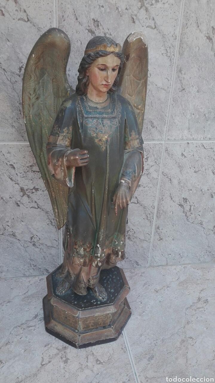 PRECIOSO ÁNGEL DE ALTAR XIX MADERA POLICROMADA (Arte - Arte Religioso - Escultura)