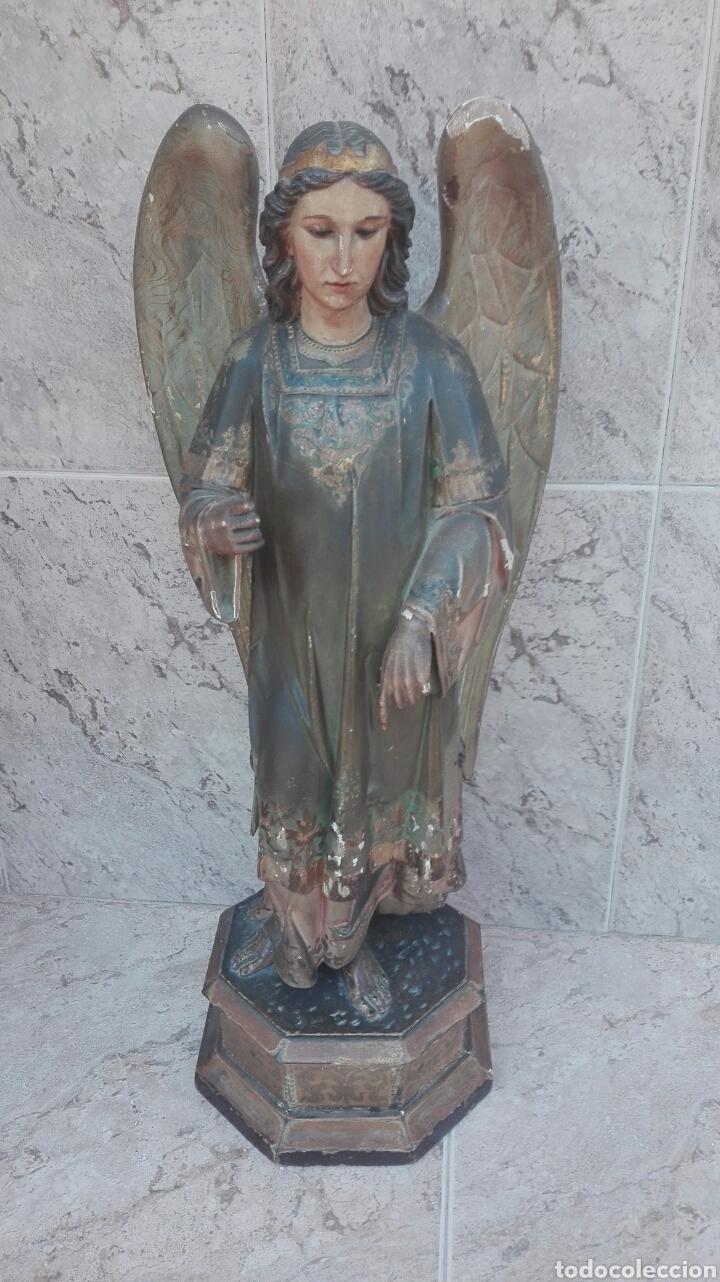 Arte: Precioso Ángel de Altar XIX Madera Policromada - Foto 2 - 98211339