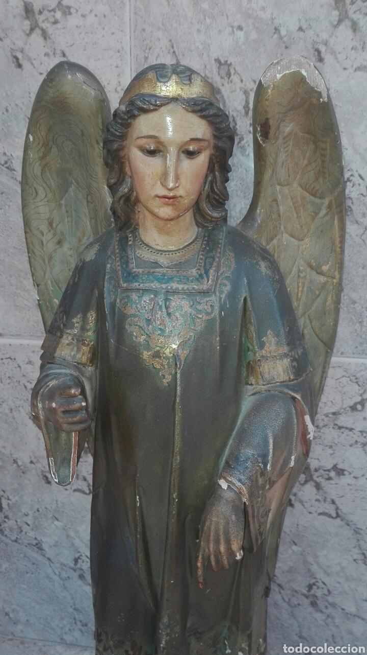 Arte: Precioso Ángel de Altar XIX Madera Policromada - Foto 4 - 98211339