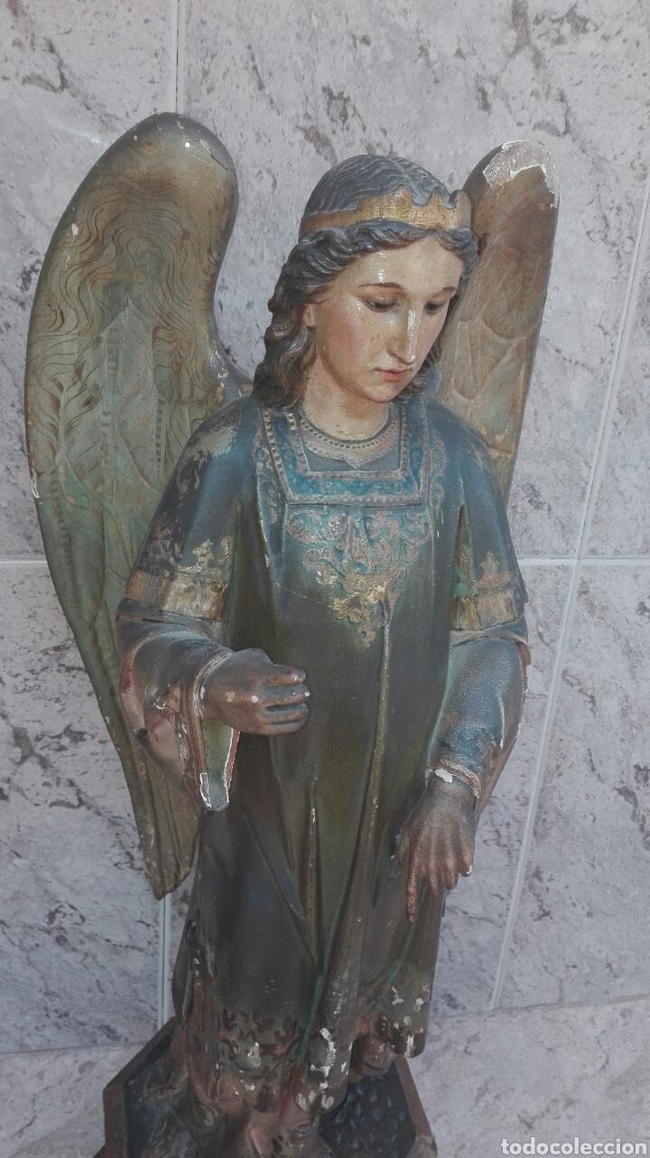 Arte: Precioso Ángel de Altar XIX Madera Policromada - Foto 5 - 98211339