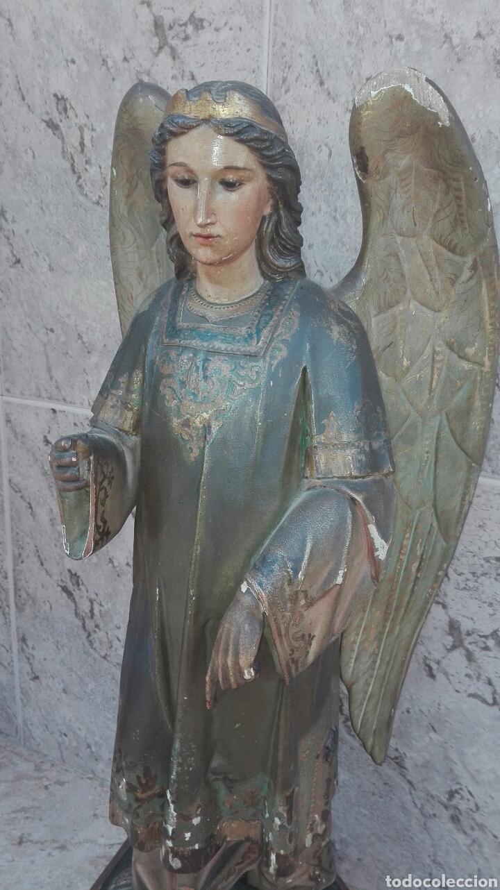 Arte: Precioso Ángel de Altar XIX Madera Policromada - Foto 6 - 98211339