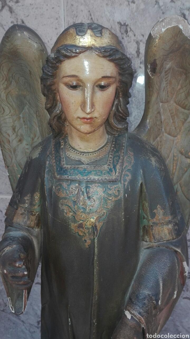 Arte: Precioso Ángel de Altar XIX Madera Policromada - Foto 7 - 98211339
