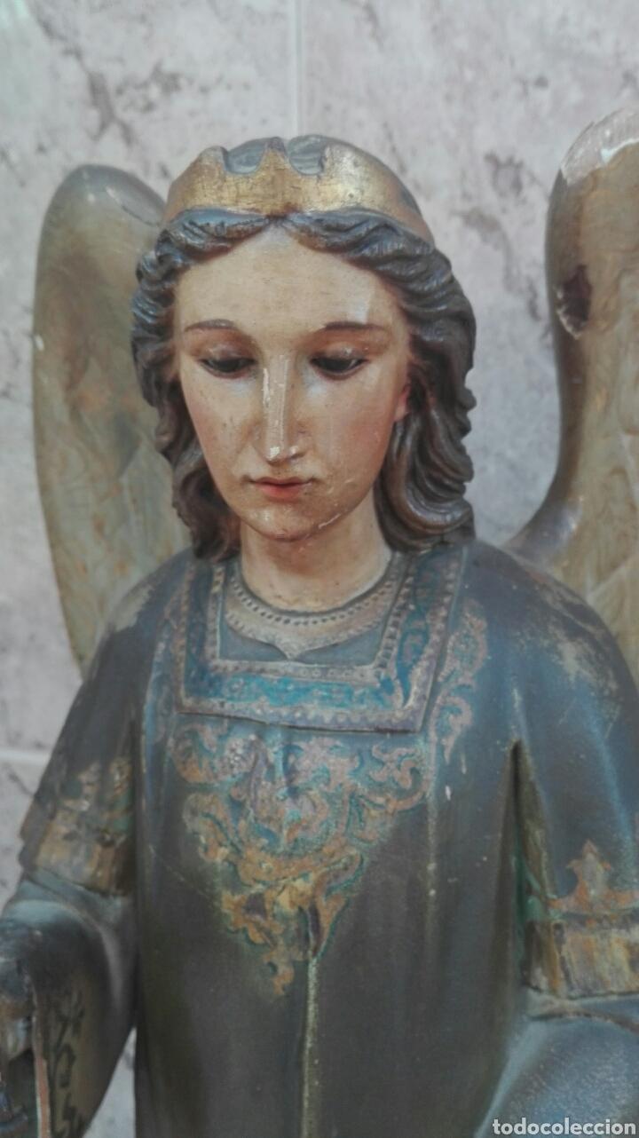 Arte: Precioso Ángel de Altar XIX Madera Policromada - Foto 10 - 98211339