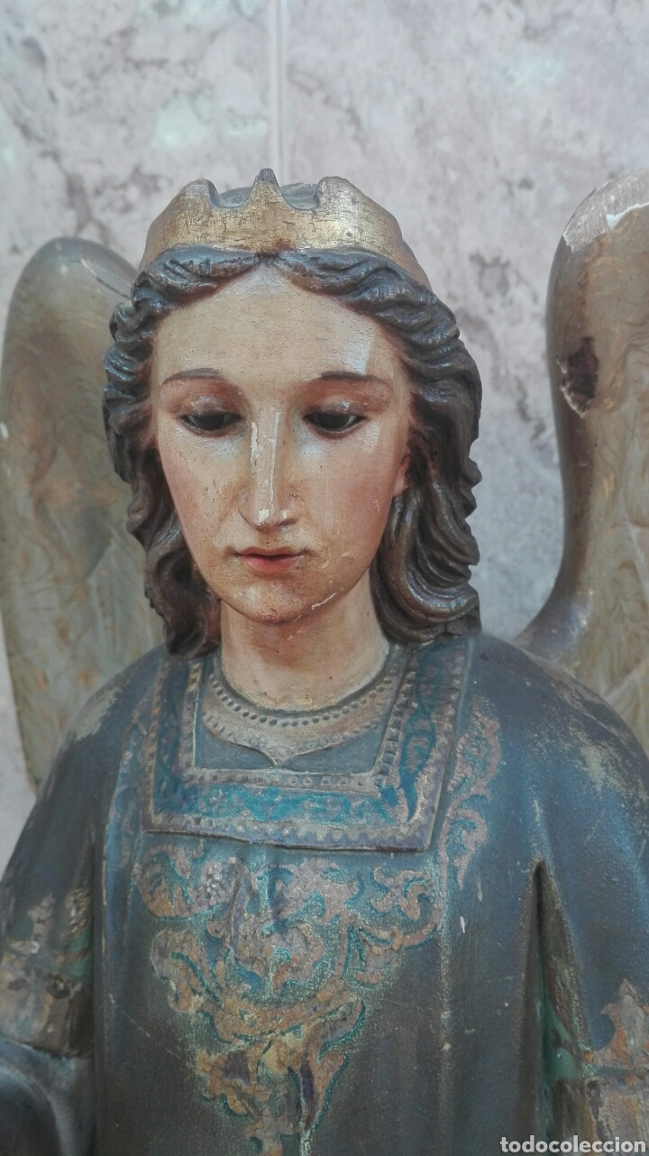 Arte: Precioso Ángel de Altar XIX Madera Policromada - Foto 11 - 98211339