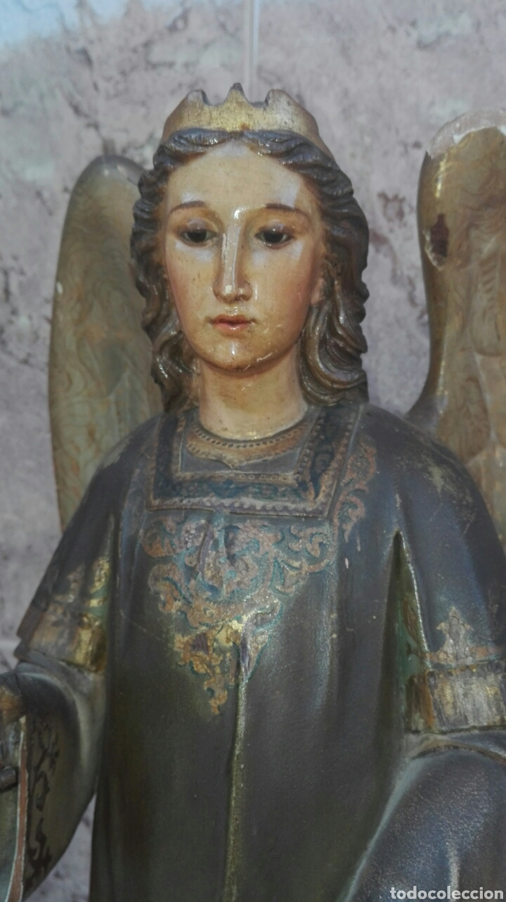 Arte: Precioso Ángel de Altar XIX Madera Policromada - Foto 12 - 98211339