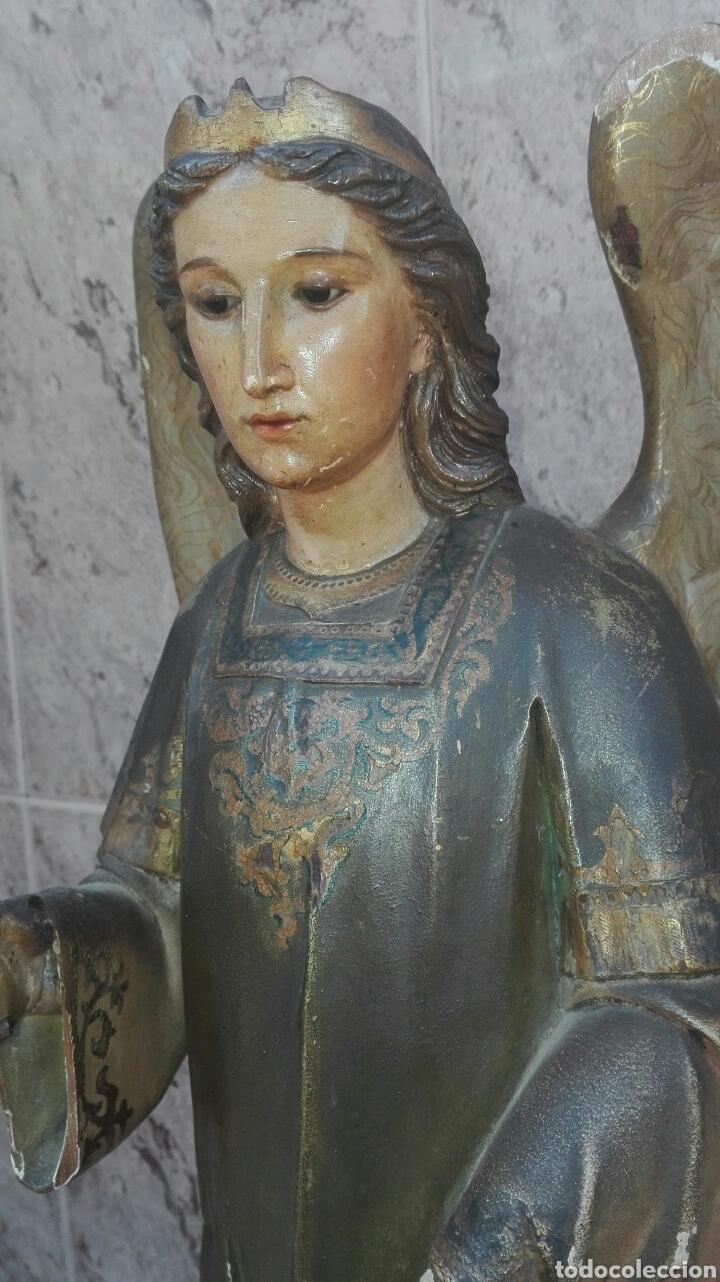 Arte: Precioso Ángel de Altar XIX Madera Policromada - Foto 13 - 98211339