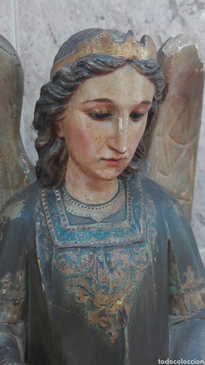 Arte: Precioso Ángel de Altar XIX Madera Policromada - Foto 16 - 98211339
