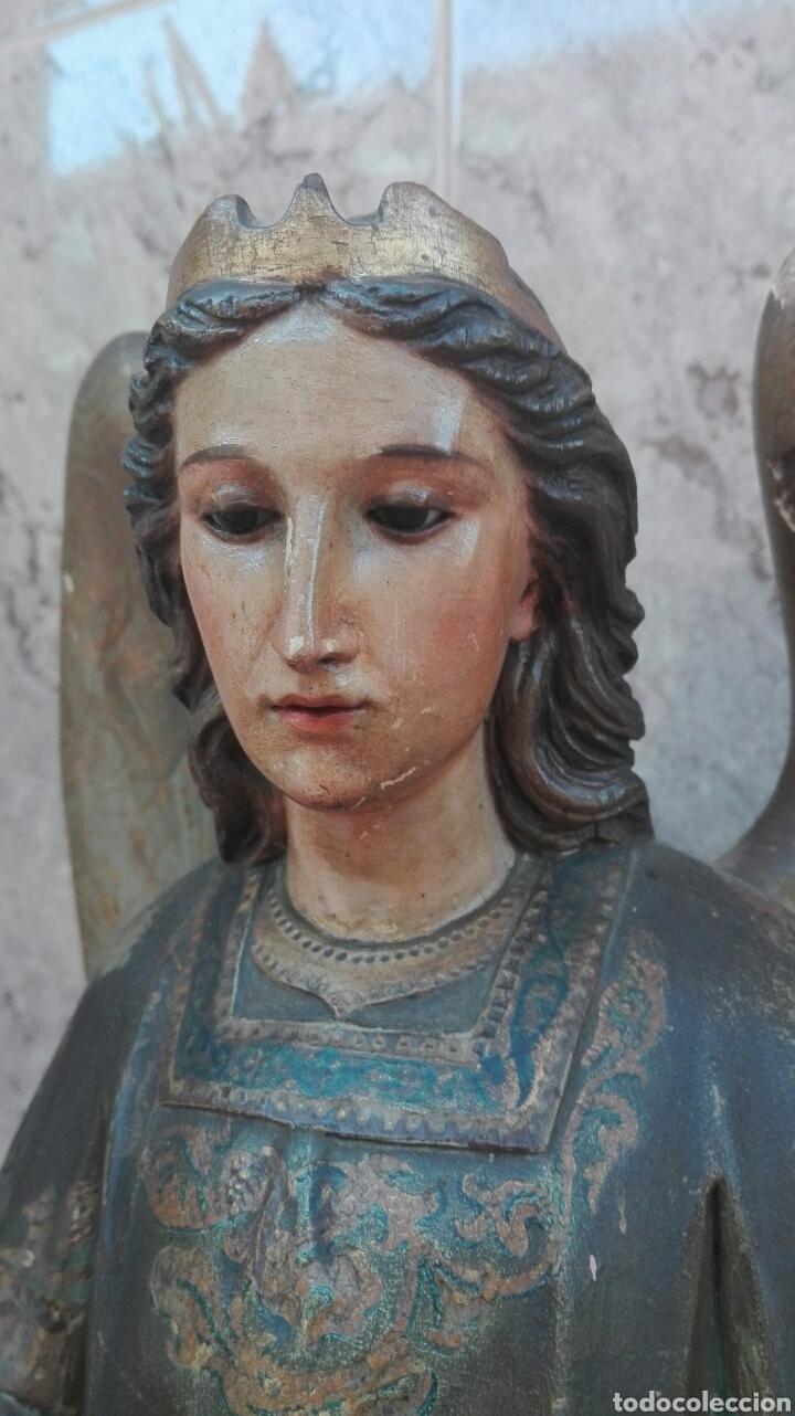 Arte: Precioso Ángel de Altar XIX Madera Policromada - Foto 17 - 98211339