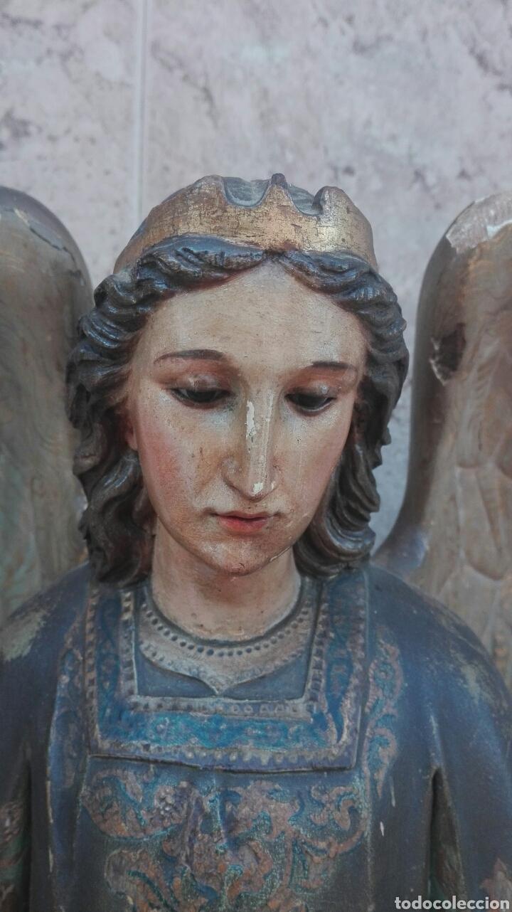 Arte: Precioso Ángel de Altar XIX Madera Policromada - Foto 18 - 98211339