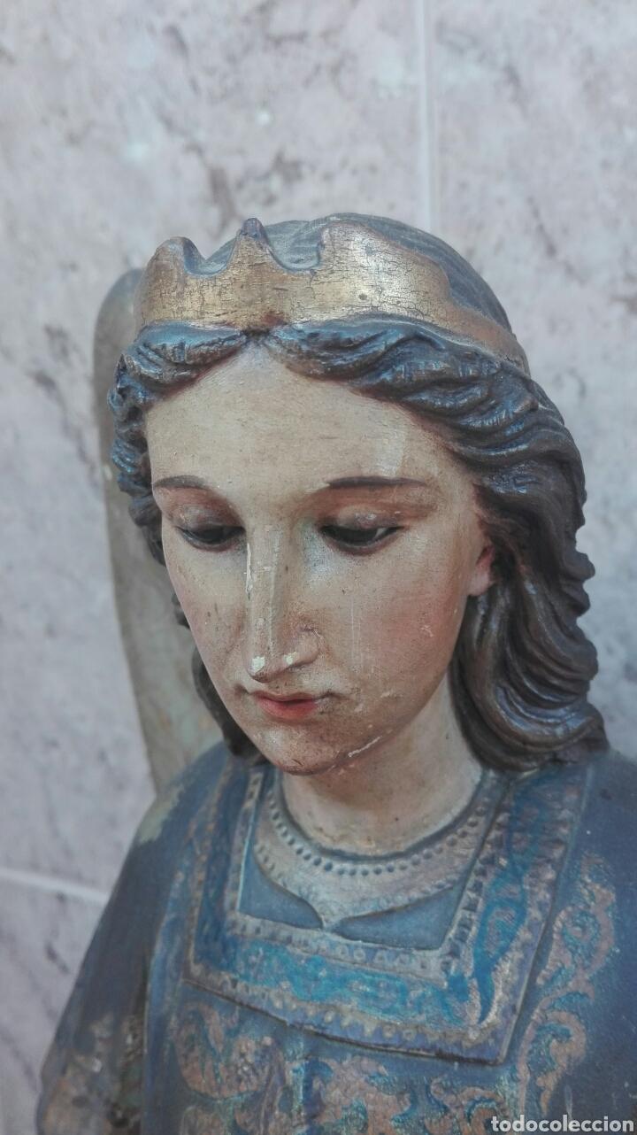 Arte: Precioso Ángel de Altar XIX Madera Policromada - Foto 19 - 98211339