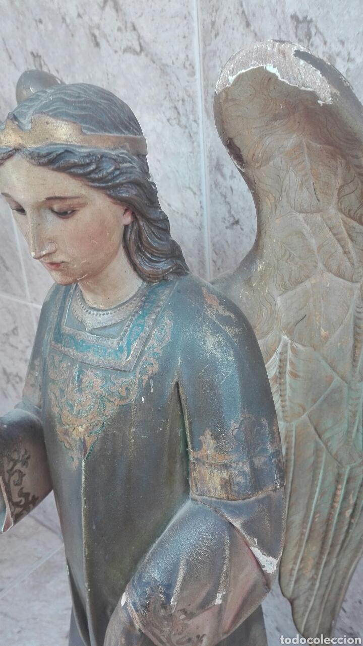 Arte: Precioso Ángel de Altar XIX Madera Policromada - Foto 24 - 98211339