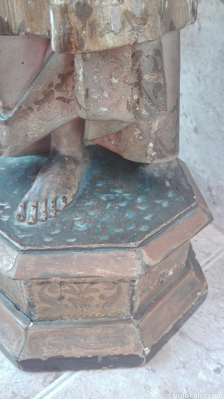 Arte: Precioso Ángel de Altar XIX Madera Policromada - Foto 28 - 98211339
