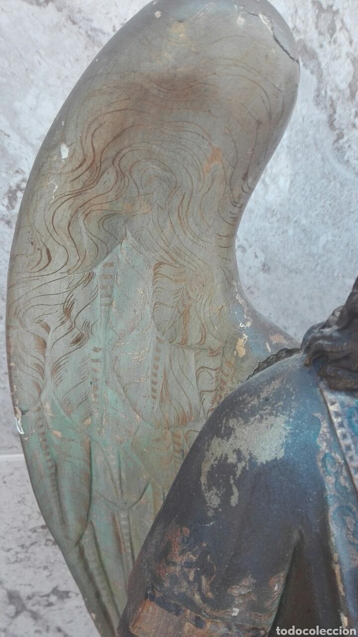 Arte: Precioso Ángel de Altar XIX Madera Policromada - Foto 34 - 98211339