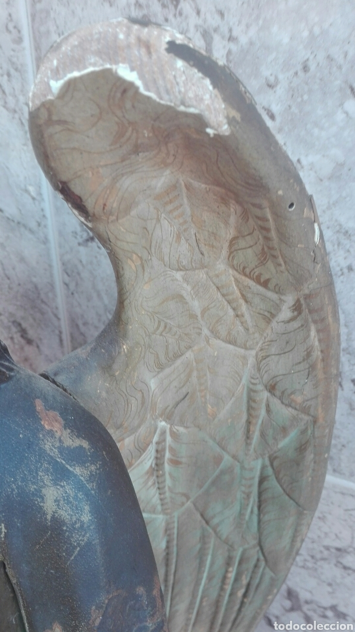Arte: Precioso Ángel de Altar XIX Madera Policromada - Foto 35 - 98211339