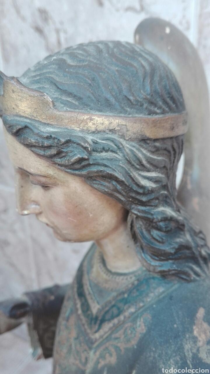 Arte: Precioso Ángel de Altar XIX Madera Policromada - Foto 38 - 98211339