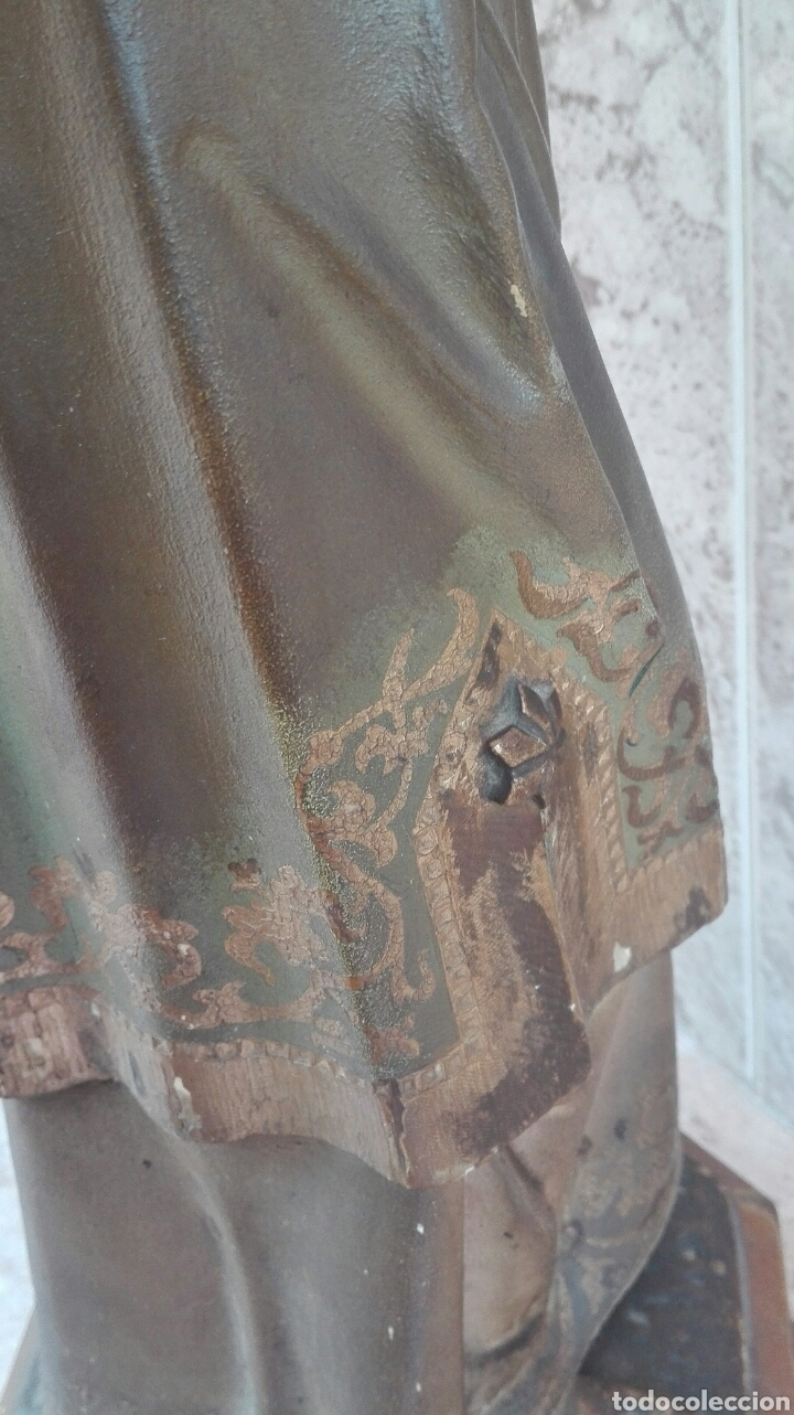 Arte: Precioso Ángel de Altar XIX Madera Policromada - Foto 46 - 98211339