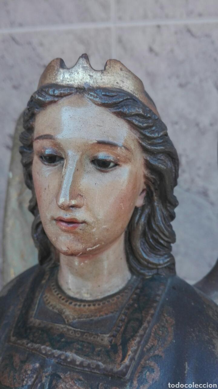 Arte: Precioso Ángel de Altar XIX Madera Policromada - Foto 55 - 98211339