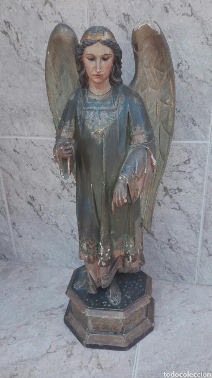 Arte: Precioso Ángel de Altar XIX Madera Policromada - Foto 56 - 98211339