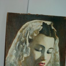 Arte: OLEO SOBRE TABLA - MUJER CON MANTILLA 18 X 21. Lote 98395783