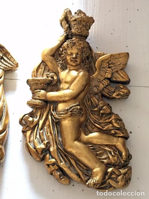 Arte: TALLA EN MADERA DE ANGELITOS PAN DE ORO - Foto 3 - 98485591